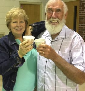 """Pastor Rick and I Toasting to Friendship and """"Wish You a Goode Journey"""""""
